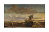 Mills on the Fens, c1853 Giclee Print by Henry Bright
