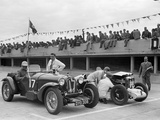 Alfa Romeo and supercharged MG Midget on the start line at Brooklands, 1938 or 1939 Photographic Print by Bill Brunell