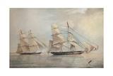 Black Joke engaging the Spanish Slave Brig El Almirante, 1 February 1829, 1830 Giclee Print by Edward Duncan