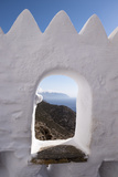 A View of Aegean Sea Through Hozoviotissa Monastery Wall in Amorgos, Greece Fotografisk trykk av Krista Rossow