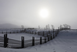 Wooden Fences Separate Snow Covered Pastureland Photographic Print by Robbie George