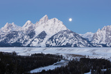 A Full Moon Rises over the Teton Range in Wyoming Photographic Print by Robbie George