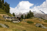 Houses over the Landscape of Swiss Alps in Switzerland Photographic Print by Jill Schneider