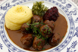 Traditional Swedish Meatballs with Mashed Potatoes and Lingonberry Sauce Photographic Print by Jill Schneider