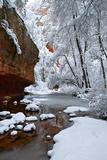 Fresh Snow Blankets Rock Formations and a Still River Photographic Print by Derek Von Briesen