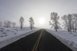 A Bare Winter Road Stretches on for Miles to the Horizon Photographic Print by Robbie George