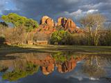 Cathedral Rock Is Reflected in Still Water Behind a Historic Barn Photographic Print by Derek Von Briesen