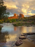 Sedona's Iconic Cathedral Rock with Afternoon Light Reflected in Oak Creek Photographic Print by Derek Von Briesen