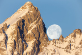 The Full Moon Set Behind Grand Teton on a Glorious Winter Morning Photographic Print by Robbie George