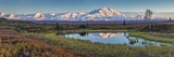 Ponds in Fall Colors under Mt Mckinley in Denali National Park Photographic Print by Aaron Huey