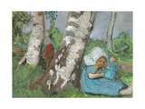 Girl with a doll sitting at a birch trunk. About 1902 Giclee Print by Paula Modersohn-Becker
