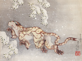Tiger in a snowstorm. Edo Period, 1849 Giclee Print by Katsushika Hokusai
