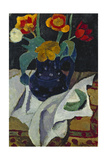 Still life with tulips in a blue pot. 1907 Giclee Print by Paula Modersohn-Becker