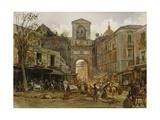 Porta Capuana, Naples. Ca. 1868 Giclee Print by Rudolf von Alt