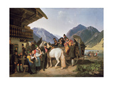 Folk festival at the Schliersee (St. Leonhardsfest in Fischhausen am Schliersee). 1825 Giclee Print by Peter Von Hess