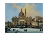 Papal Benediction, Piazza San Pietro (detail, see also Image ID 25167) Giclee Print by Ippolito Caffi