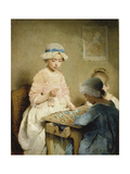 The Game of Lotto. 1865 Giclee Print by Charles Chaplin