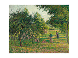 Apple Trees and Hay Makers at Eragny (Pommiers et Faneuses, Eragny). 1895 Reproduction procédé giclée par Camille Pissarro