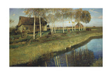 Autumn morning at the canal. 1895 Giclee Print by Otto Modersohn