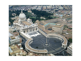 Aerial view of St. Peter's Basilica and its square in the Vatican. 1656-1667 Giclée-tryk af Bernini, Giovanni Lorenzo