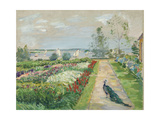 Park at lake Wannsee. (Flower garden with peacock). 1912 Giclee Print by Max Slevogt