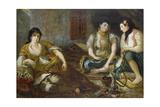 Three arab women (Study for the oil painting) Reproduction procédé giclée par Eugène Delacroix