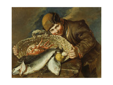 Boy with a basket full of sea food Giclee Print by Giacomo Ceruti