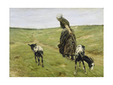 Woman with goats on the dunes. 1890 Giclee Print by Max Liebermann