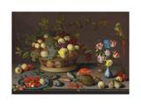 Trauben und andere Früchte in einem Korb, Kirschen und ein Pfirsich auf einem Delfter Teller Giclee Print by Balthasar van der Ast