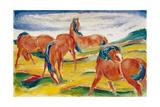 Horses grazing III (Weidende Pferde III). 1910 Giclee Print by Franz Marc