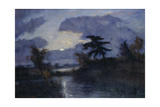 moonlit night, Teufelsmoor. About 1900 Gicléetryck av Otto Modersohn