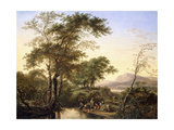 An Extensive Italianate River Landscape with Travellers by a Pool Giclee Print by Herman Saftleven