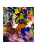 Paar am Gartentisch. Couple at the garden table Giclee Print by August Macke