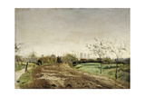 Morning landscape with carriage approaching Münster. 1887 Giclee Print by Otto Modersohn
