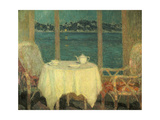 The Terrace in Front of the Bay of St. Tropez. 1929 Giclee Print by Henri Le Sidaner