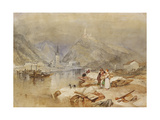 Berncastel on the Moselle with the Ruins of Landshut. Ca. 1834 Giclee Print by Joseph Mallord William Turner