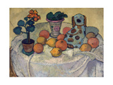 Still life with oranges and stoneware dog. 1907 Giclee Print by Paula Modersohn-Becker