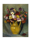 Bunch of flowers in a yellow clay jug. 1928 Giclee Print by Otto Modersohn