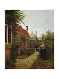 Woman with a Basket of Beans in a Kitchen Garden. Ca. 1660 Giclee Print by Pieter de Hooch