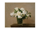 Vase with white Roses. 1885 Giclee Print by Henri De Fantin-latour