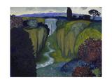 Landscape with Waterfall. 1896 Giclee Print by Franz von Stuck