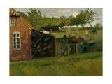 Rotes Haus mit Ställen. 1907 Gicléetryck av Otto Modersohn