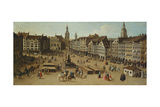 View of the Marienplatz, Munich, ca. 1750 (Detail) Giclee Print by Joseph Stephan