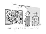 Mobsters in museum admire Jackson Pollack painting. - New Yorker Cartoon Premium Giclee Print by Ellis Rosen