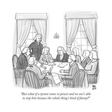 The Founding Fathers writing the Constitution. Benjamin Franklin brings up...  - New Yorker Cartoon Premium Giclee Print by Paul Noth