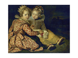 Magdalena and Jan-Baptist de Vos, the painter's children. About 1622 Giclee Print by Cornelis de Vos