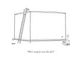 Man atop ladder feeds single fish in giant fish tank. - New Yorker Cartoon Premium Giclee Print by Jack Ziegler