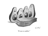 Four avocados stand around a dead avocado in a coffin. - New Yorker Cartoon Premium Giclee Print by Will McPhail