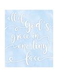 All of God's Grace Blue Premium Giclee Print by Anna Quach