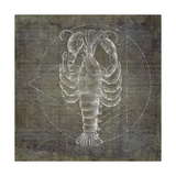 Lobster Geometric Silver Premium Giclee Print by Ramona Murdock